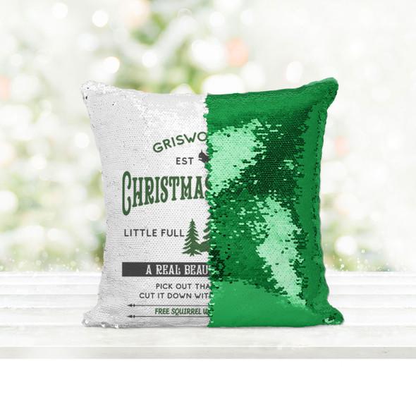 Griswold & Co christmas tree farm a real beaut decorative sequin pillowcase pillow