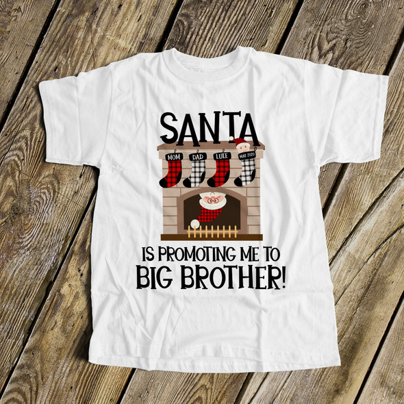 Christmas shirt big brother santa is promoting me to big brother