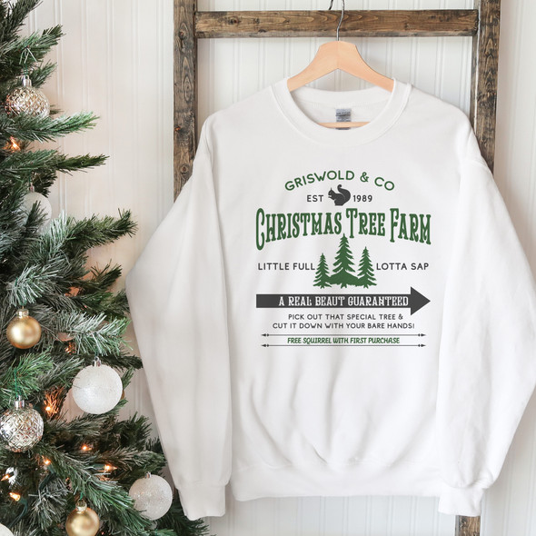 Christmas tree farm real beaut griswold & co adult crew neck simple sweatshirt