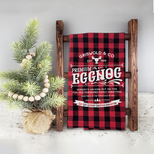 Hap hap happiest christmas griswold & co premium eggnog red buffalo plaid holiday tea towel