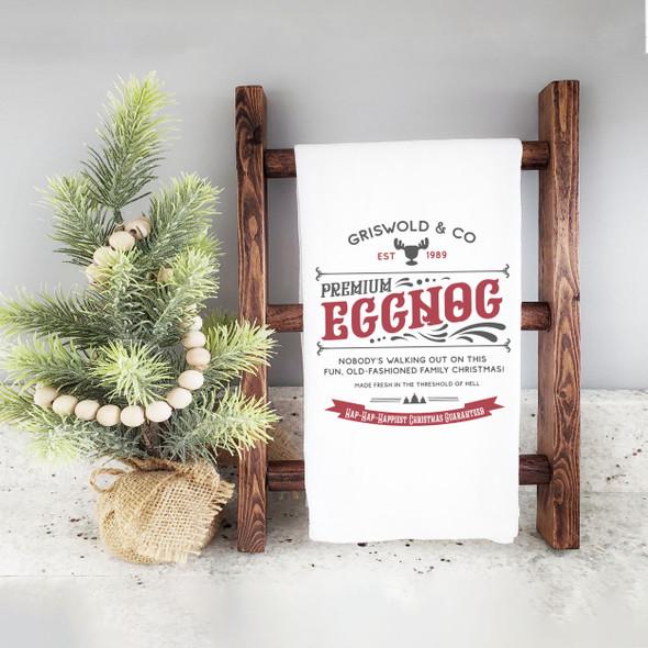 Griswold & Co premium eggnog hap hap happiest christmas funny holiday tea towel