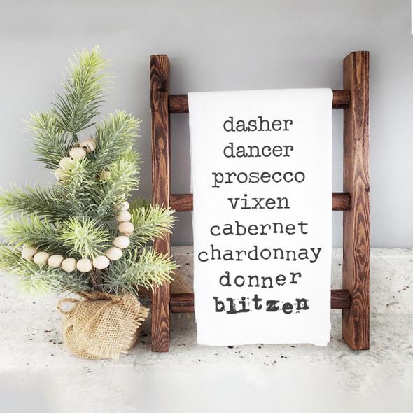 Funny reindeer names wine list christmas holiday tea towel