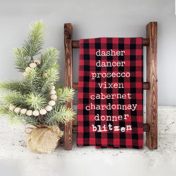 Funny wine list santa reindeer names red buffalo plaid holiday tea towel