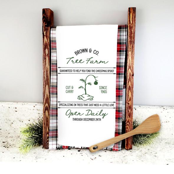 Brown & Co tree farm find the christmas spirit holiday tea towel