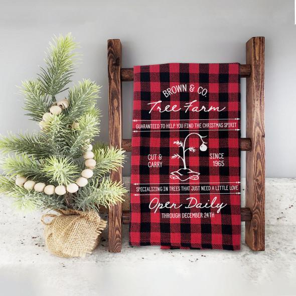 Find the christmas spirit brown & co tree farm red buffalo plaid holiday tea towel