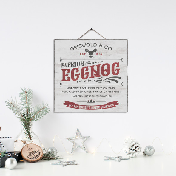 Griswold & Co premium eggnog hap hap happiest christmas white wash or gray wash wood sign