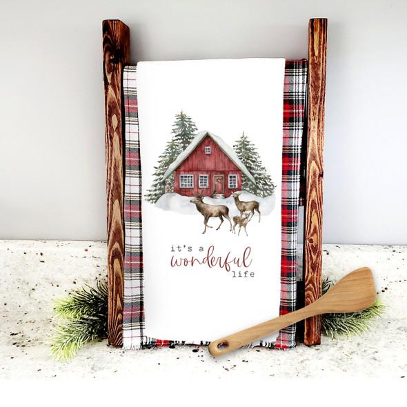 it's a wonderful life snowy farmhouse deer holiday tea towel