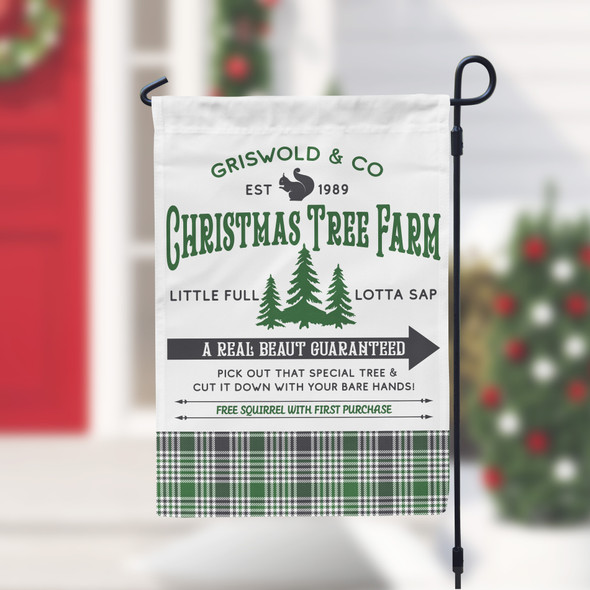Christmas tree farm griswold & co a real beaut garden flag with stand option