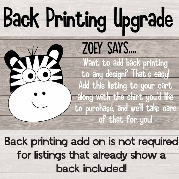 $2.00 CUSTOM PRINTING ADD ON FEE