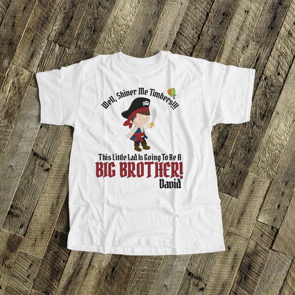 Big brother to be shirt pirate shiver me timbers pregnancy announcement Tshirt