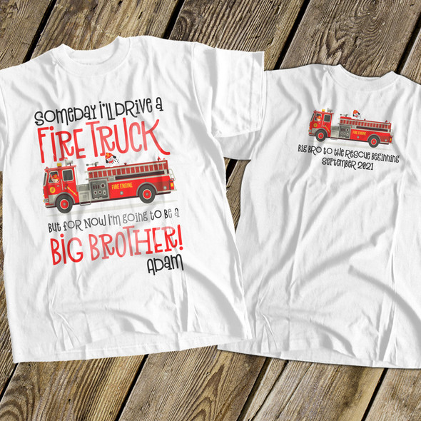 Big brother to be shirt fire truck pregnancy announcement Tshirt