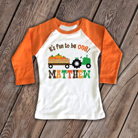 First birthday shirt childrens 1st birthday Fall tractor and pumpkin personalized raglan Tshirt