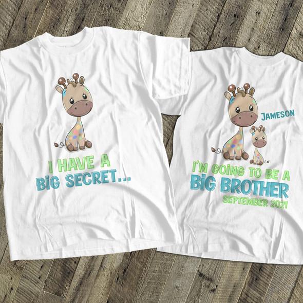 Big brother to be shirt funky giraffe secret pregnancy announcement Tshirt
