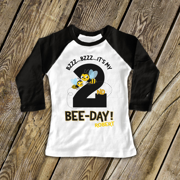 Birthday bee-day any age personalized raglan shirt