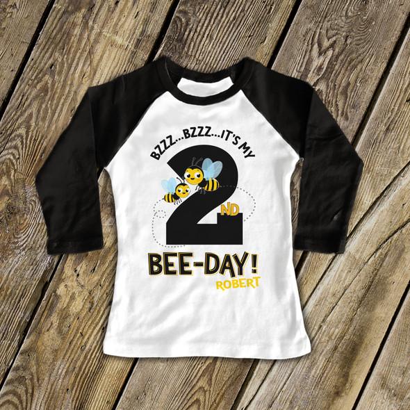Birthday bee-day any age personalized raglan shirt