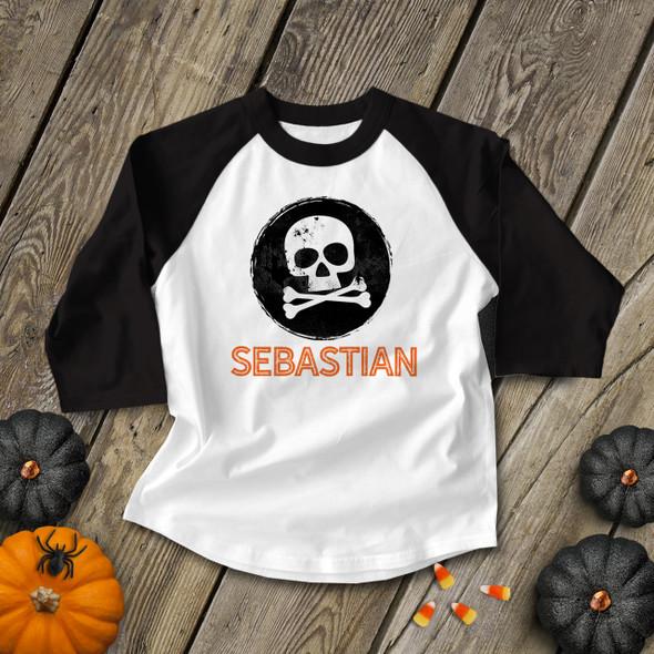 Halloween shirt skull and cross bones grunge personalized raglan Tshirt