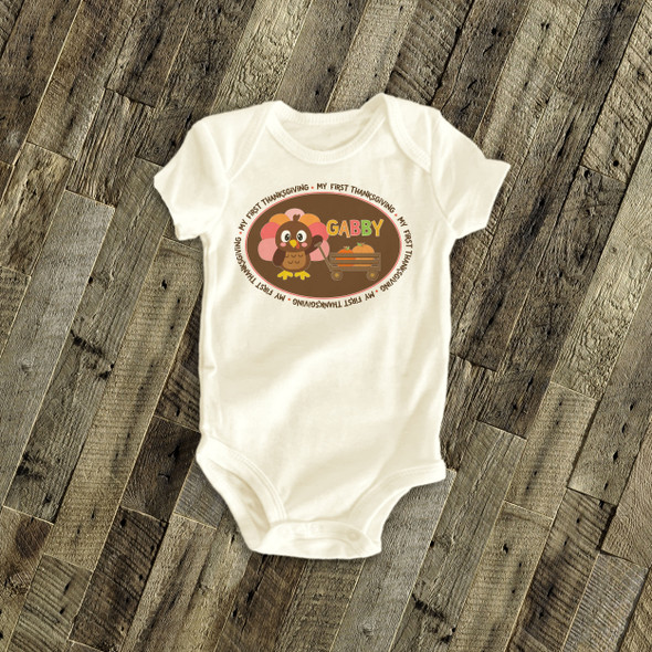 Thanksgiving bodysuit turkey and pumpkin my first Thanksgiving personalized bodysuit