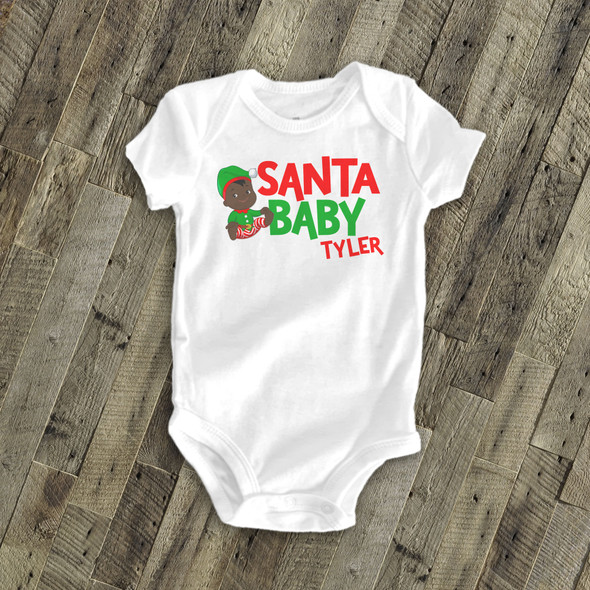 Santa baby boy personalized Christmas bodysuit or Tshirt