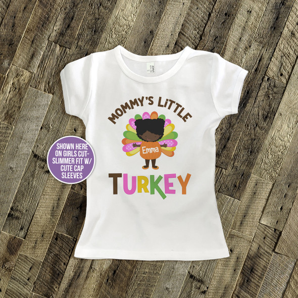 Thanksgiving shirt mommy's little turkey girl personalized Tshirt
