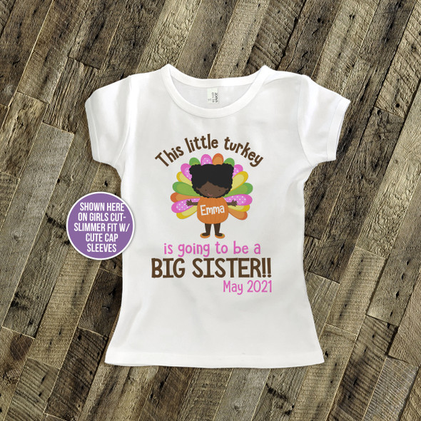 Big sister to be shirt little turkey pregnancy announcement Tshirt