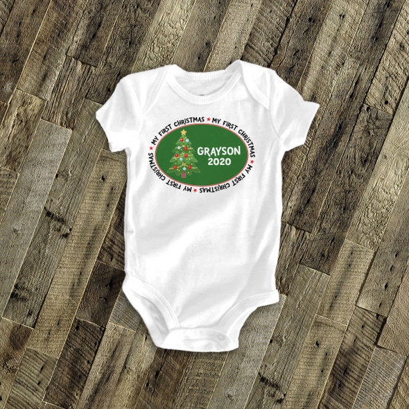 My first Christmas bodysuit Christmas tree personalized bodysuit or Tshirt
