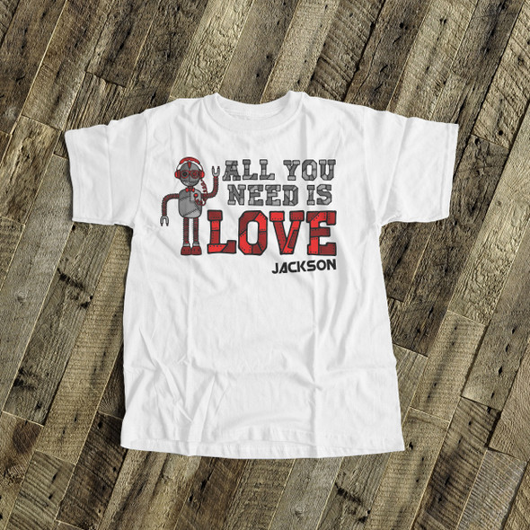 Valentine's Day robot boy personalized Tshirt