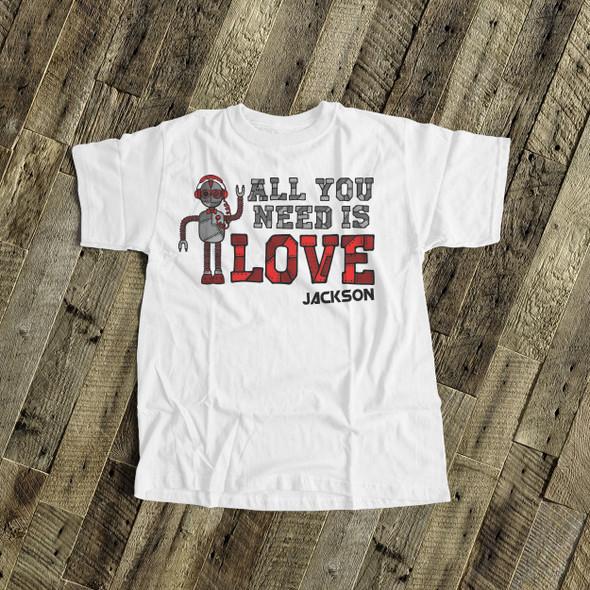 Valentine's Day robot boy personalized Tshirt