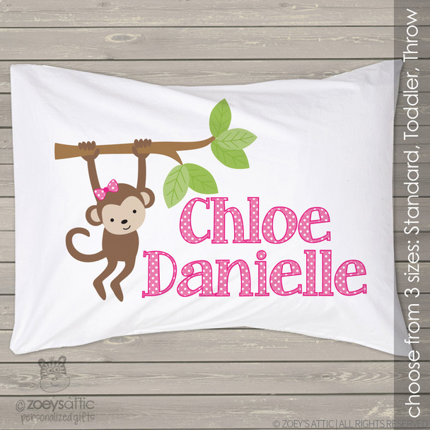 Monkey girl personalized pillowcase / pillow