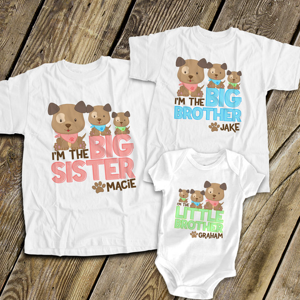 Big brother or sister puppy dog three sibling Tshirt set