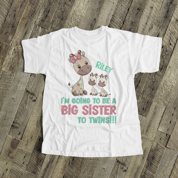 Big sister to be shirt twins funky giraffe pregnancy announcement Tshirt