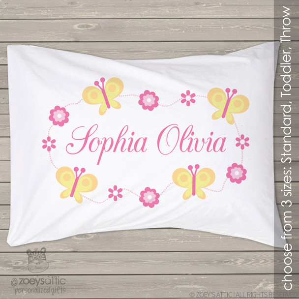 Butterfly and flower personalized pillowcase / pillow