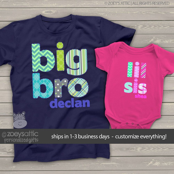 Brother or sister colorful stitched look pattern DARK sibling Tshirt set