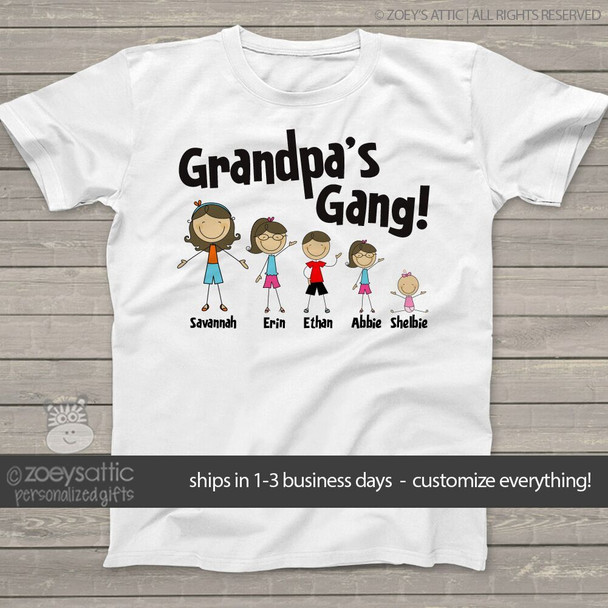 Grandpa or dad stick figure gang personalized family Tshirt