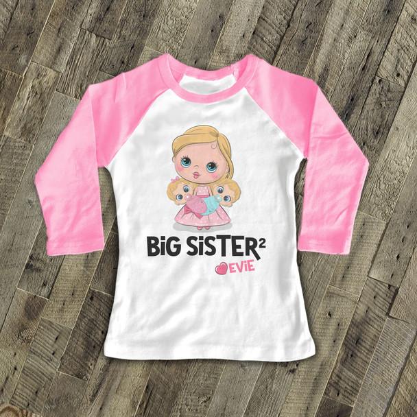 Big sister to twins squared personalized stick figure raglan Tshirt
