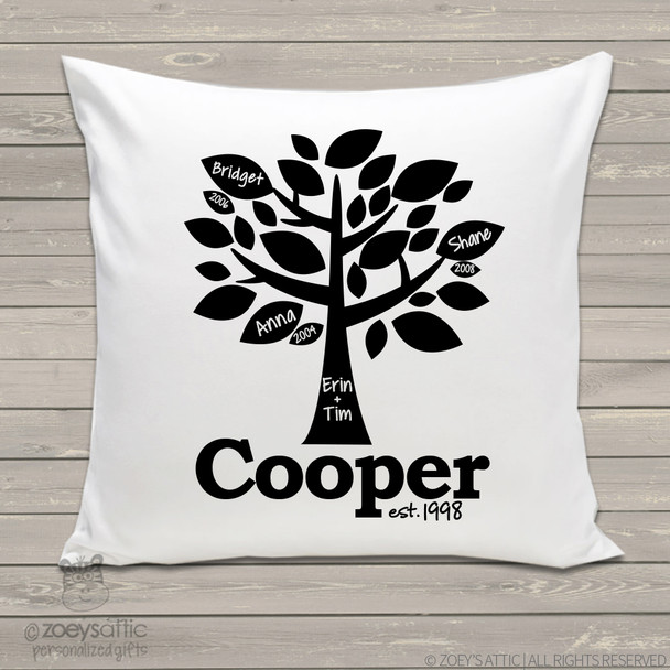 Family tree throw pillow custom personalized pillowcase with pillow insert