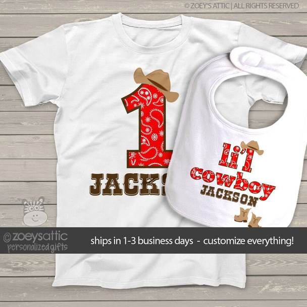 First birthday shirt cowboy or cowgirl buckaroo personalized Tshirt or bodysuit and bib matching set