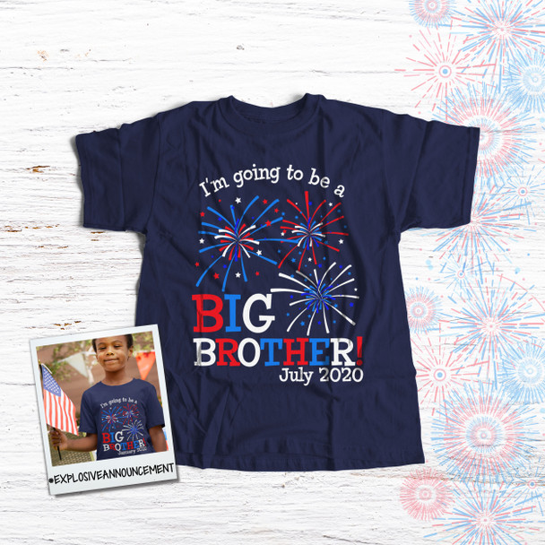 4th of July shirt big brother or big sister to be pregnancy announcement DARK navy Tshirt