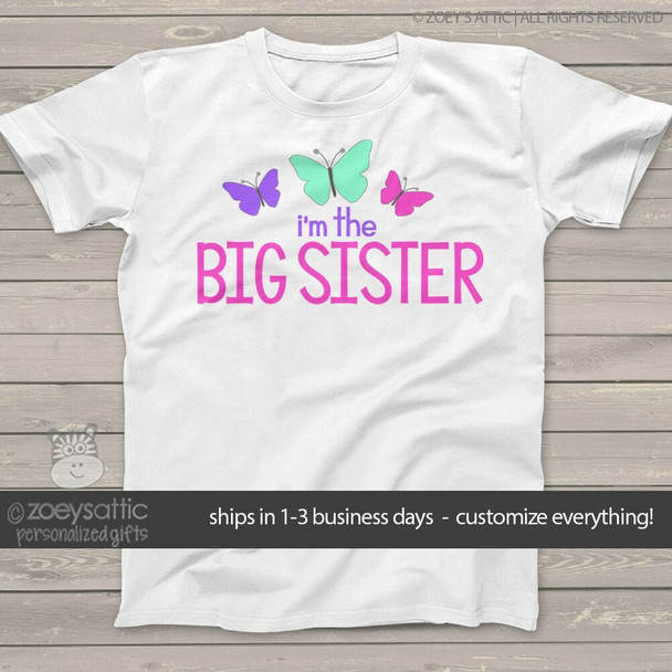 Big sister shirt I'm the big sister butterfly personalized Tshirt