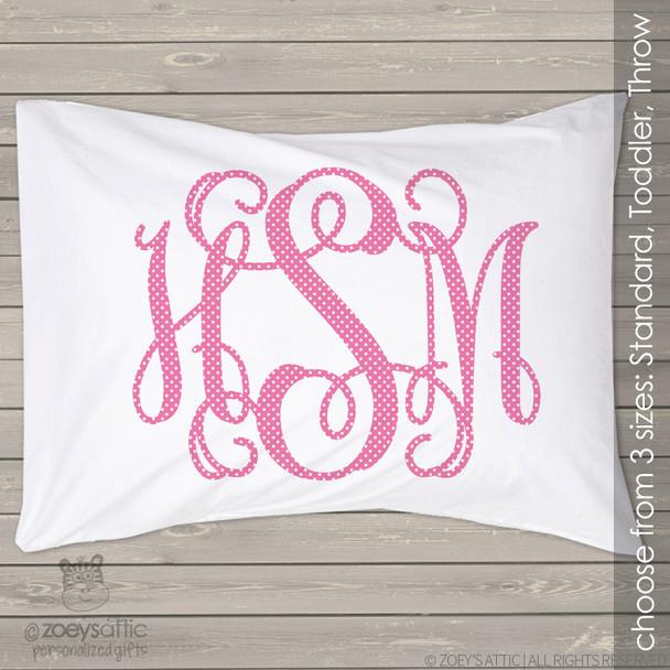 Polkadot monogrammed personalized pillowcase / pillow