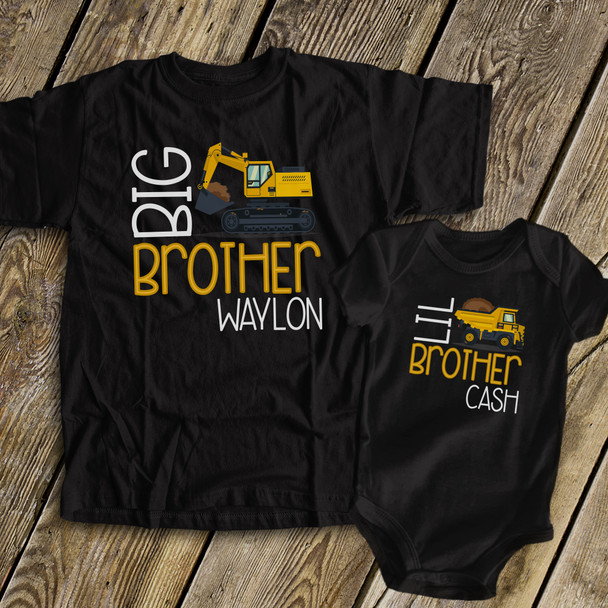 Big brother Lil brother construction truck DARK sibling Tshirt set