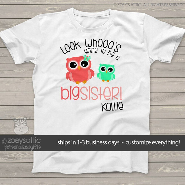 Big sister to be shirt look whooo's owl pregnancy announcement Tshirt