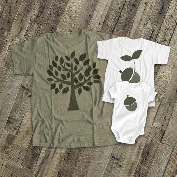 The acorn doesn't fall far from the tree matching daddy and kids tshirt custom gift set of THREE shirts