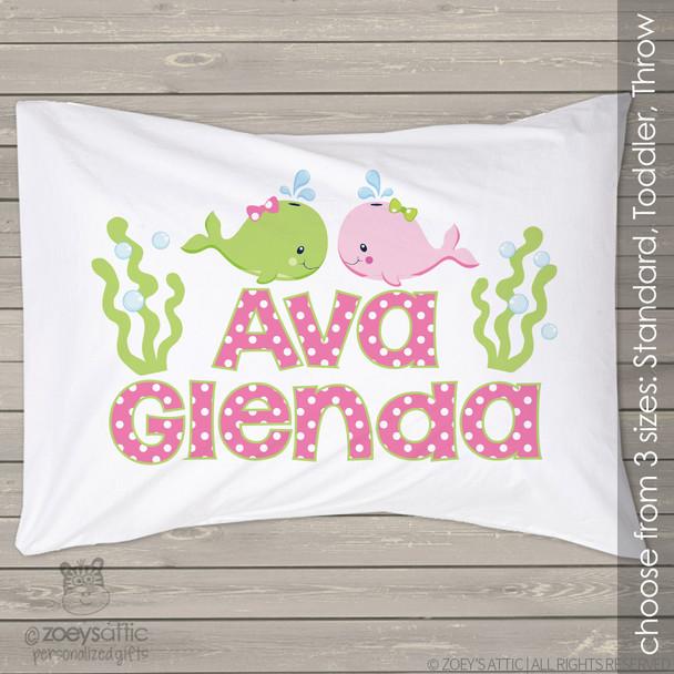 Whales sealife girl personalized pillowcase / pillow