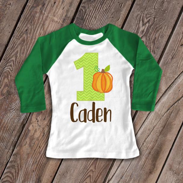 First birthday shirt pumpkin fall theme 1st (or any) birthday childrens personalized raglan Tshirt