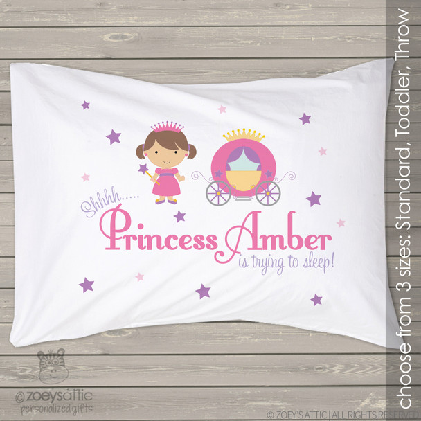 Princess and carriage personalized pillowcase / pillow