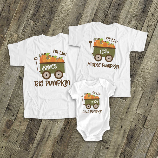 Fall sibling set brother or sister pumpkin matching Tshirts for three