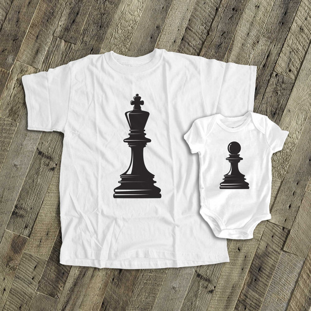 Chess king and pawn matching dad and kiddo t-shirt or bodysuit custom gift set