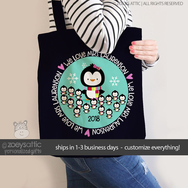 Teacher personalized penguin DARK tote bag