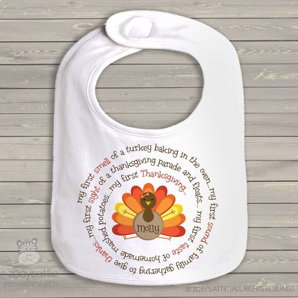 Thanksgiving bib little turkey first Thanksgiving personalized bib