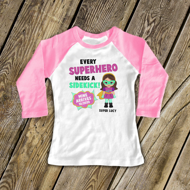 Big sister comic book superhero pregnancy announcement raglan Tshirt